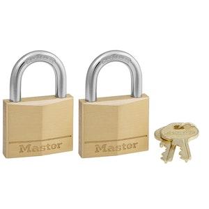 Master Lock 140T 40mm Wide Solid Brass Body Padlocks 2 Pack Keyed Alike