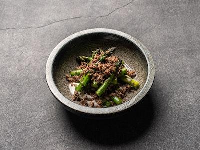 Green asparagus, Maltese pork sausage, yoghurt