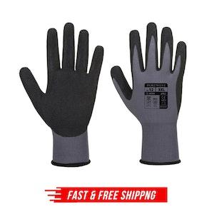 Portwest Ultra Dermiflex Aqua Nitrile Grip Safety Gloves - Grey/Black