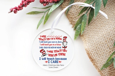 Teacher Zoom Ornament - Christmas Teacher end of Year gift