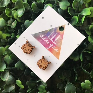 Terry The Tiger Etched Bamboo Stud Earrings. These detailed cuties will bring a smile to your face - along with all who see you wearing them