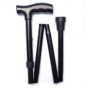 Safe Home Care Adjustable Folding Walking Stick Black