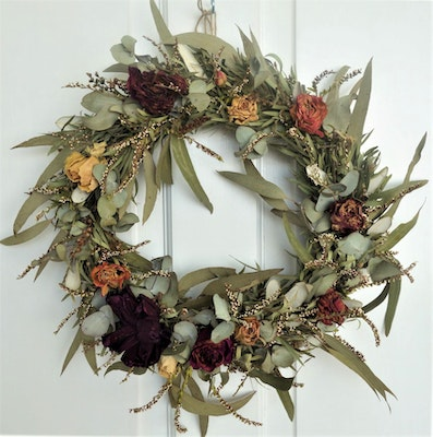 Bambole Designs WREATH- ROSES and Foliage, All Year Wreath, Door Wreath,  Valentines Day, Home Decor, Everlasting Flowers, Gift Idea