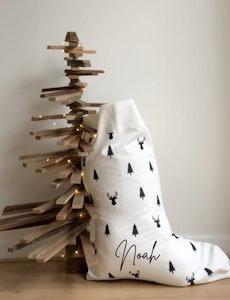 Santa Stocking Reindeer & Trees - Fancy Font