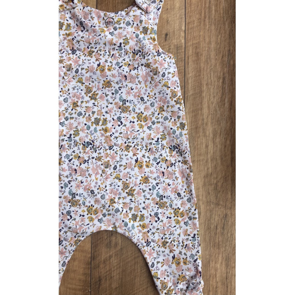 The Baby Man Store Ochre & Pink Floral Print Romper