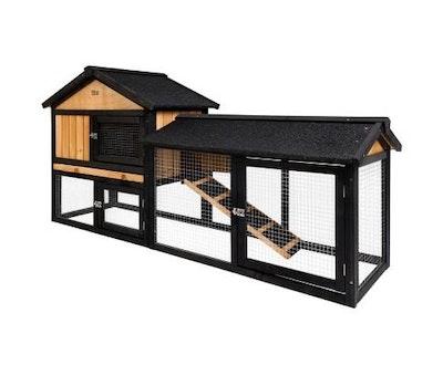 House of Pets Delight Large Waterproof Wooden Pet Rabbit Chicken Hutch Coop with Metal Run