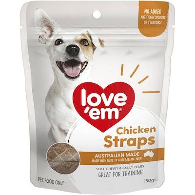 Love'em Love Em Chicken Straps Dog Training Chew Treats 150g