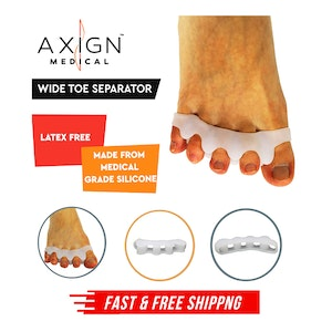 1 Pair Axign Wide 5 Toe Separator Medical Silicone Bunion Pain Relief Spacer