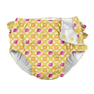 i play. Mix & Match Ruffle Snap Reusable Absorbent Swimsuit Diaper-Yellow Fiesta Geo