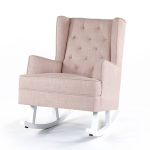 Isla Wingback Rocking Chair Dusty Pink with White Legs