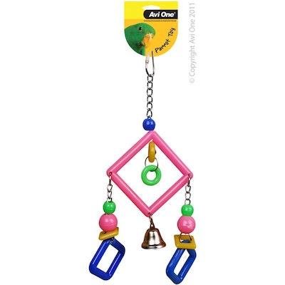 Avi One Bird Toy Acrylic Diamonds with Bell