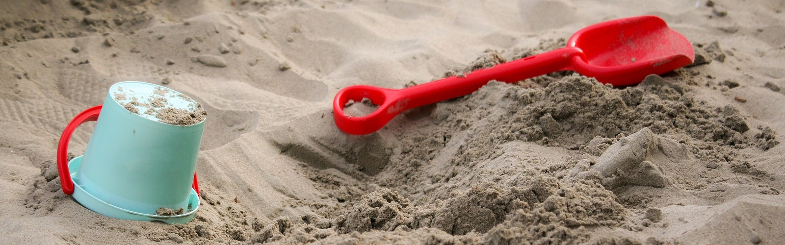 Sandbox with a shovel and bucket