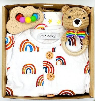Avie Designs Rainbow! Newborn Baby Gift Box