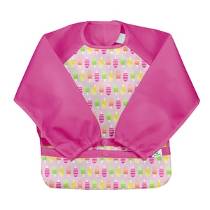 green sprouts Snap & Go Easy-wear Long Sleeve Bib-Pink Popsicles-12/24mo