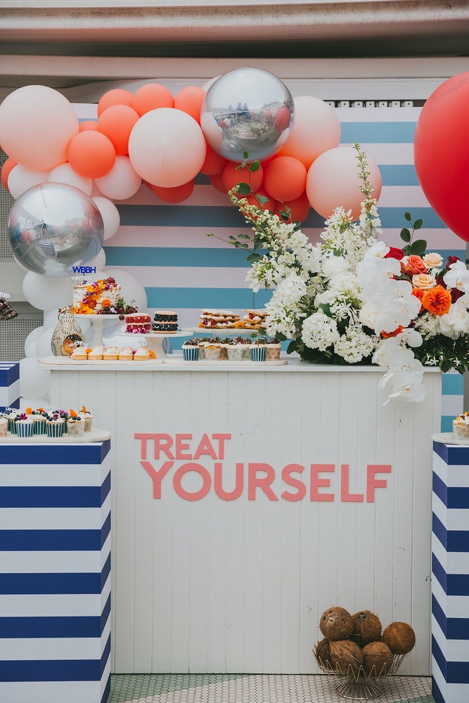 Engagement Party Dessert Table Balloon Arch