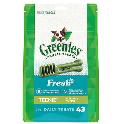 Greenies Fresh Mint Teenie Dogs Dental Treats 2-7kg 340g