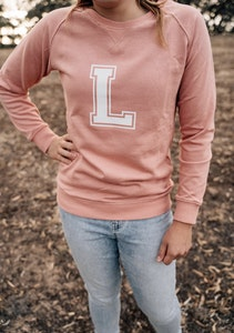 Personalised Varsity Sweater - Dusty Pink