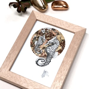 Framed A6 'Seahorse' Limited Edition Print with Hand-Applied Gold-Leaf Metals.