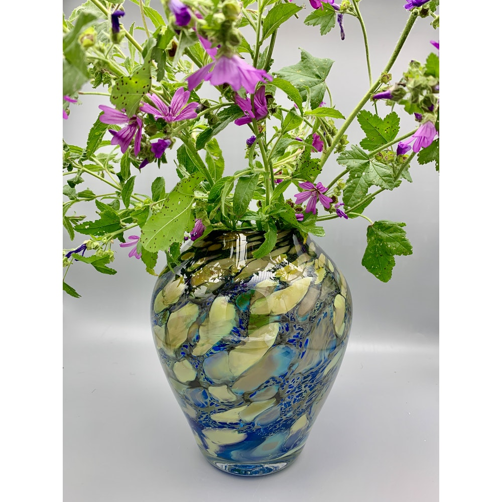 David M Flower Mouth Blown Glass Vase In Hydrangea Pattern. Size: Large.
