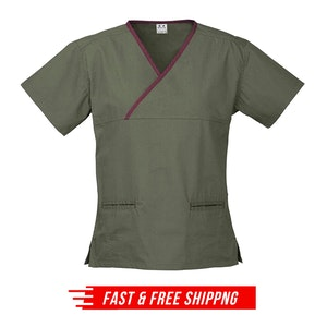 Contrast Women's V-Neck Scrubs Top Ladies Hospital Dentist Nurse Uniform - Sage/Maroon