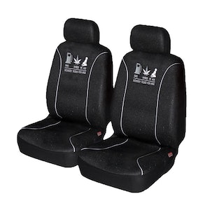 Universal Nobody Rides For Free Front Seat Covers Size 60/25   White