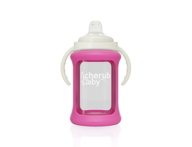Wide Neck Glass Sippy Cup with Colour Change Sleeve 240ml - Pink