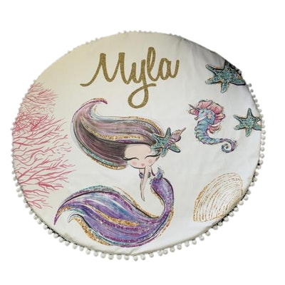 On Chic Baby Clothes Personalised Baby Playmats – Organic Jersey Cotton – Mermaid