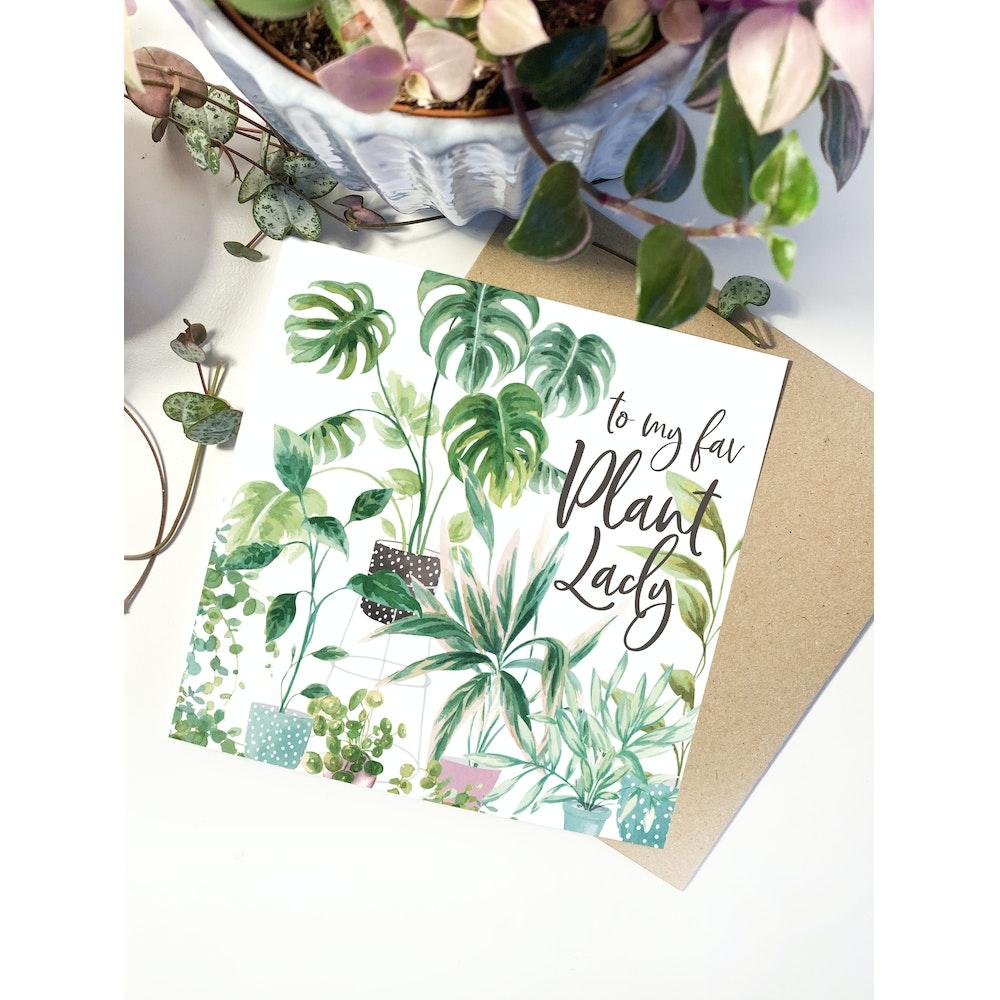 Laura Elizabeth Illustrations Plant Lady Greetings Card