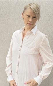 Molly   Cotton Shirt in Pale Pink Seersucker