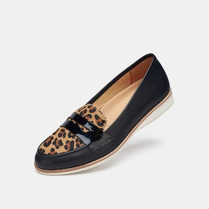 Rollie Nation Penny Loafer Black / Cognac Leopard