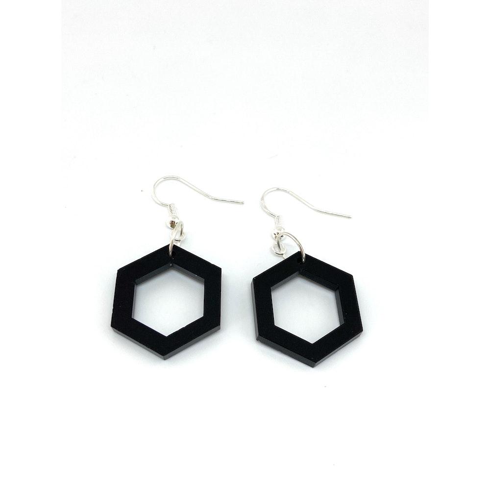 One of a Kind Club Hexagon Black Acrylic Earrings