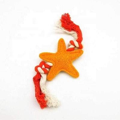 DoggyTopia Loofah Starfish & Rope Dental Toy