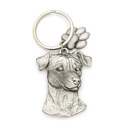 Key Companions Solid Fine Pewter Parson Jack Terrier dog with Paw Keychain