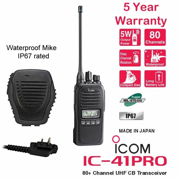 Icom IC-41Pro 5 Watt Waterproof UHF CB - Benelec Sp  Mike