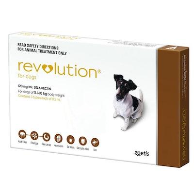 Revolution 5.1-10kg Medium Dog Parasite Wormer Treatment Brown - 2 Sizes