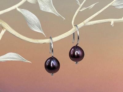 Aubergine pearl hook earrings