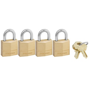 Master Lock 120Q 19mm Wide Solid Brass Padlocks 4 Pack