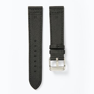 Time+Tide Watches  Black + Black Stitch Nylon Sail Cloth Watch Strap