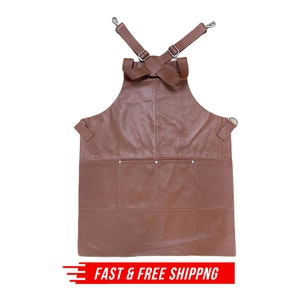 BUFFALO LEATHER APRON Cooking Chef Hairdresser Waterproof Durable Quality - Tan