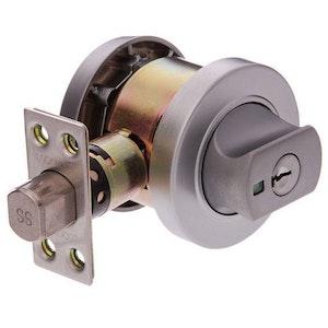 Lockwood Paradigm 005 indicating double cylinder deadbolt in satin chrome plate finish