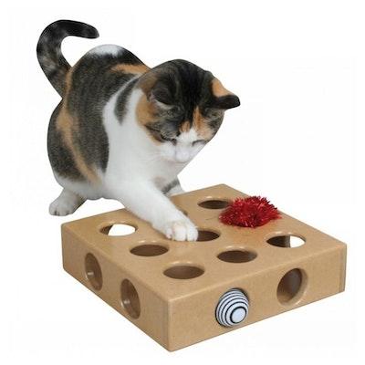 SmartCat Peek-And-Play Wooden Cat Toy Box 26 x 26 x 6cm