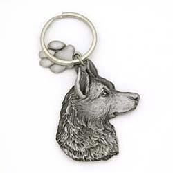 Key Companions Solid Fine Pewter German Shepherd with Paw Keychain
