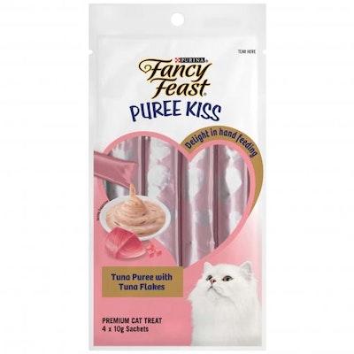 Fancy Feast Puree Kiss Tuna Puree With Tuna Flakes Cat Treats