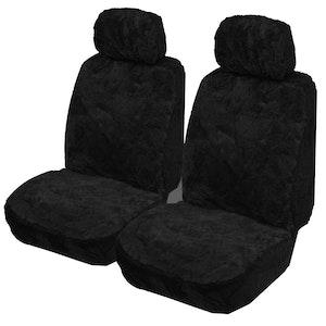 Sheepskin Seat Covers 14Mm (Pair) Airbag Safe | Black