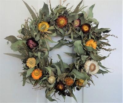 Bambole Designs Dried Paper Daisies & Foliage WREATH, Rustic Wreath, Boho Wreath, Australian Made, Hanging décor, Centre Piece 2021