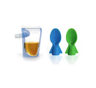 Baby Food Pouches 20 pack + FREE Spoons (Green/Blue)