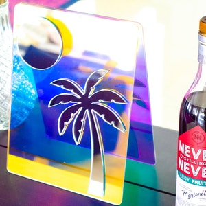 Palm Tree Colour Changing Laser Cut Acrylic Mirror (Small)