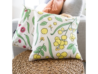 Golden Wattle Cushion Cover in Light Grey