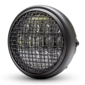 """7.7"""" Matte Black Classic Metal Multi Projector LED Headlight with Mesh Grill"""
