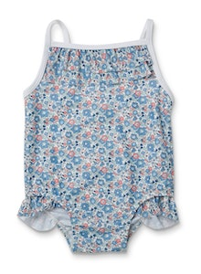 Liberty Fabric Pear Frill Swimsuit - Betsy Ann Blue